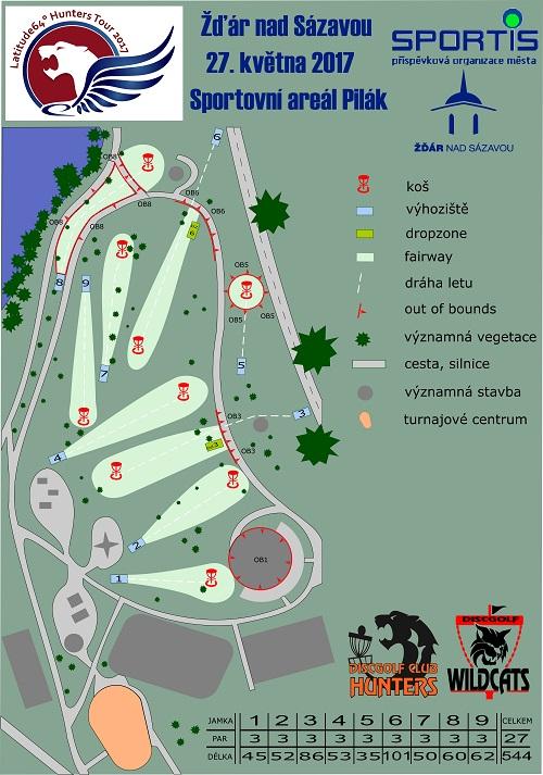 Upravená mapa pro turnaj ve Žďáru nad Sázavou